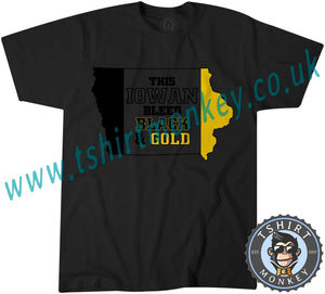 This Iowan Bleeds Black And Gold Hawkeye American Football T-Shirt Unisex Mens Kids Ladies