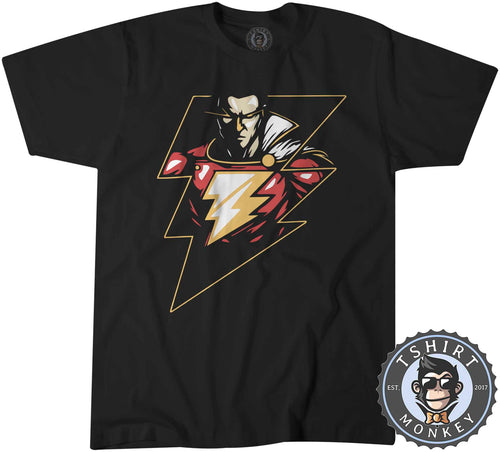Lightning Shazam Graphic Illustration Tshirt Shirt Kids Youth Children 2376