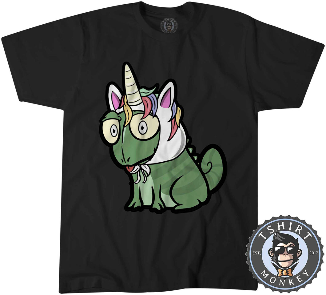 Unicorn Chameleon Cute Funny Cartoon Tshirt Mens Unisex 1227