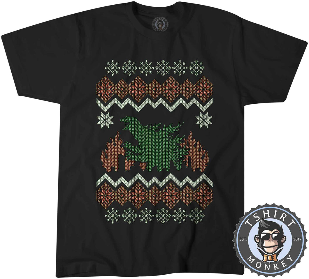 Godzilla Ugly Sweater Christmas Tshirt Kids Youth Children 2897