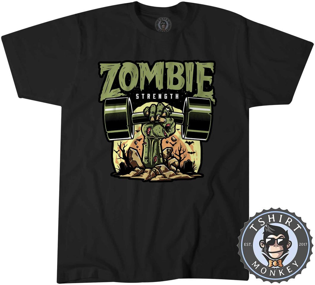 Zombie Strength Funny Illustration Gym Graphic Tshirt Kids Youth Children 1153