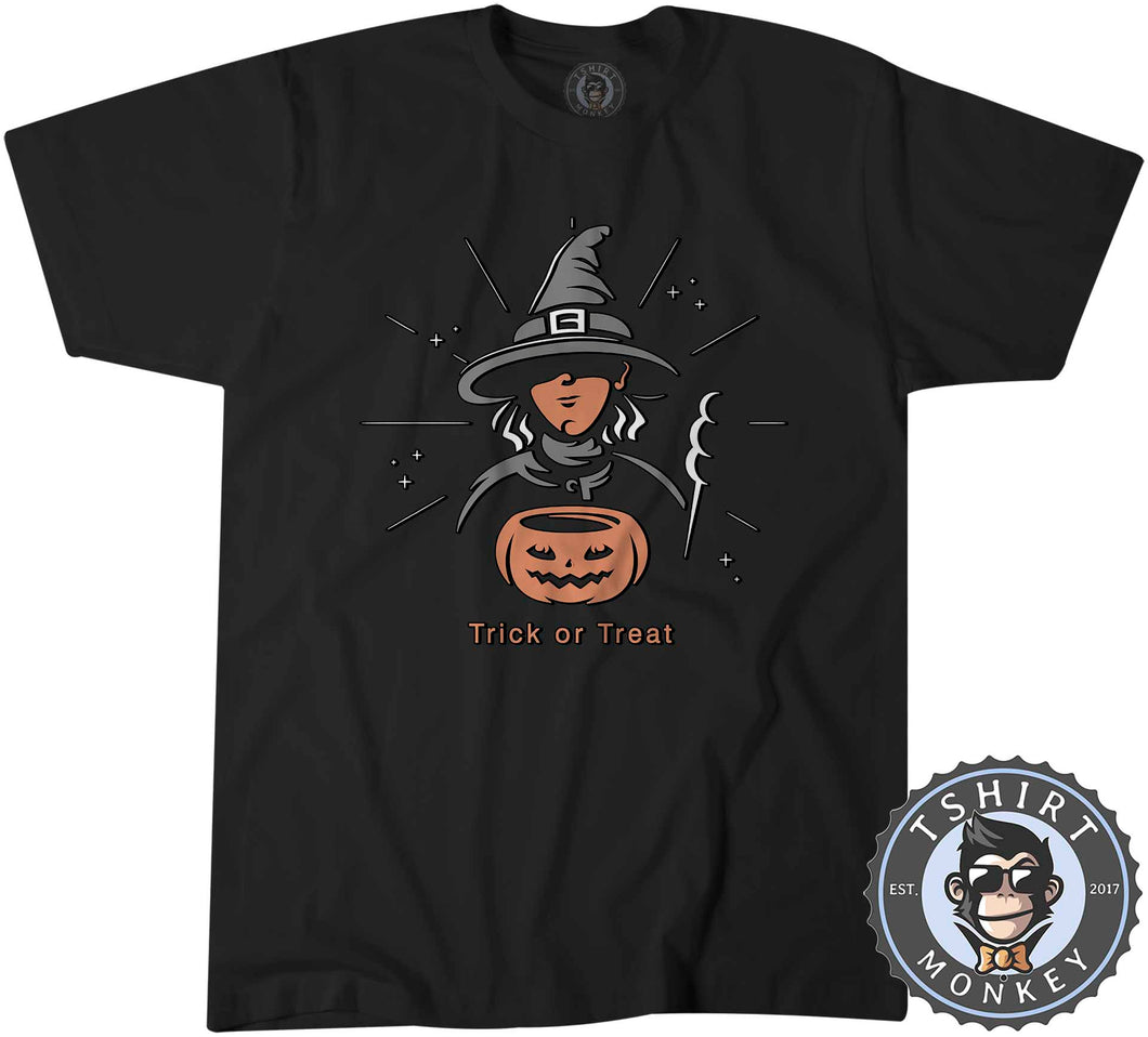 Trick or Treat Witch Cool Graphic Cartoon Halloween Tshirt Mens Unisex 1152