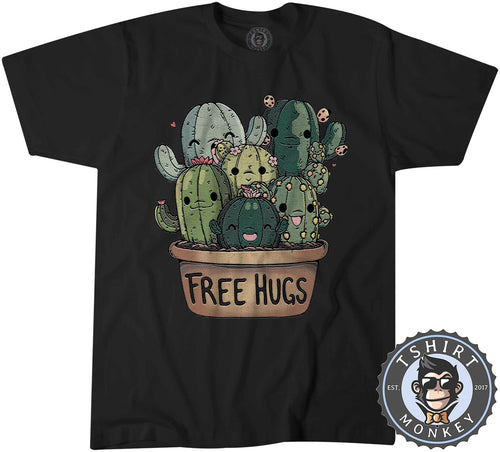 Free Hugs - Funny Cute Cactus Cartoon Tshirt Mens Unisex 1415