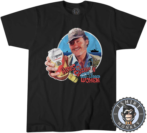 Funny Captain Quint Jaws Movie Inspired Beer Drinking Tshirt Mens Unisex 1357