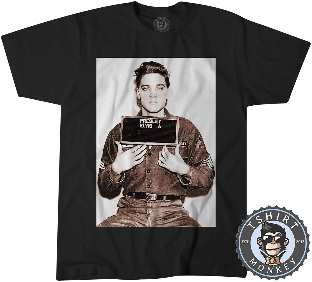 The Kings Mug Shot - Elvis Inspired Graphic Illustration Tshirt Mens Unisex 0925