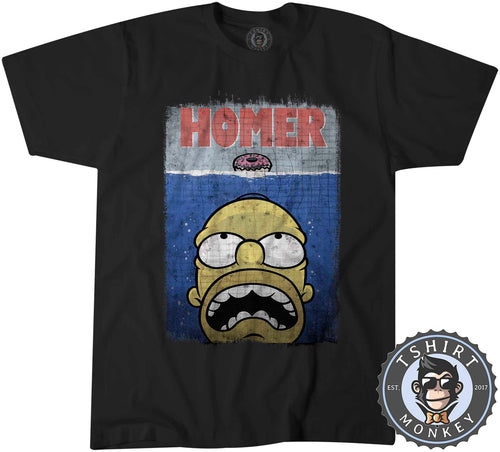 Homer X Jaws Movie Inspired Funny Vintage Cartoon Mashup Tshirt Kids Youth Children 1440