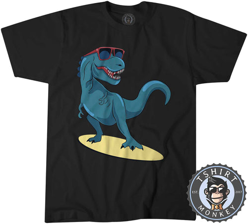 Cartoon Dino T-Rex Surfer Summer Tshirt Shirt Kids Youth Children 2287