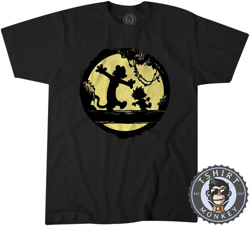 Calvin and Hobbes Into the Moon Silhouette Popular Comic Tshirt Mens Unisex 1330
