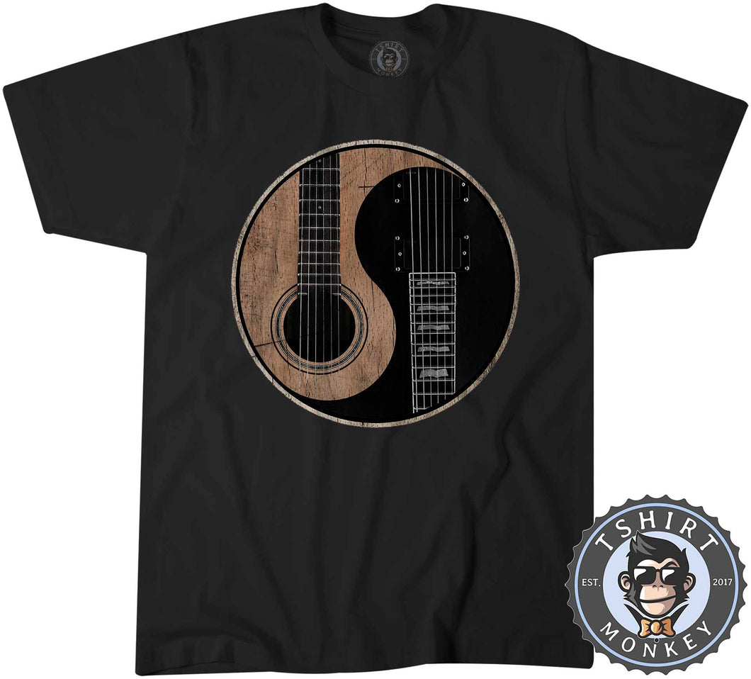 Acoustic X Electric Ying Yang Inspired Guitar Tshirt Kids Youth Children 0076