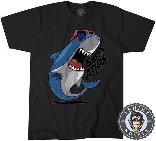 Shark Attack - Cool Summer Animal Cartoon Tshirt Shirt Mens Unisex 2290