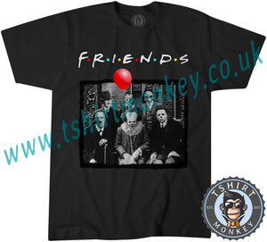 UK Horror Characters Friends Parody Halloween Psychodynamics T-Shirt Unisex Mens Kids Ladies - TeeTiger