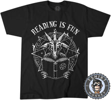Load image into Gallery viewer, Reading Is Fun Devil Satan Baphomet Funny Vintage Statement Tshirt Mens Unisex 1148