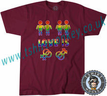 Load image into Gallery viewer, Love Is Love Gay Pride LGBTQ+ T Shirt T-Shirt Unisex Mens Kids Ladies - TeeTiger