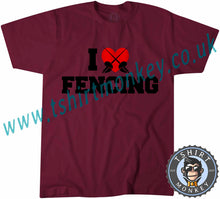 Load image into Gallery viewer, I Love Fencing T-Shirt Unisex Mens Kids Ladies - TeeTiger