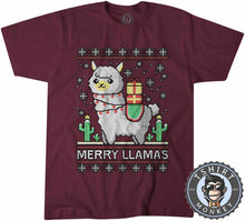 Load image into Gallery viewer, Merry Llamas Ugly Sweater Christmas Tshirt Mens Unisex 3005