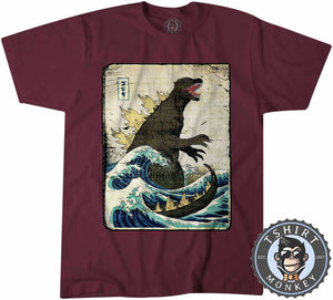 Vintage Godzilla Movie Inspired Wave Graphic Illustration Tshirt Mens Unisex 1326