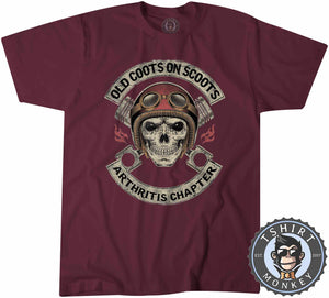 Old Coot on Scoots Biker Tshirt Mens Unisex 0058
