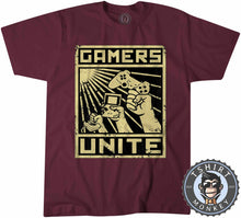 Load image into Gallery viewer, Gamers Unite - Vintage Halftone Gaming Graphic Tshirt Mens Unisex 1211