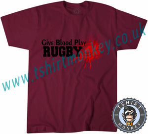Give Blood Play Rugby T-Shirt Unisex Mens Kids Ladies - TeeTiger