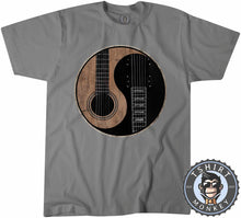 Load image into Gallery viewer, Acoustic X Electric Ying Yang Inspired Guitar Tshirt Mens Unisex 0076