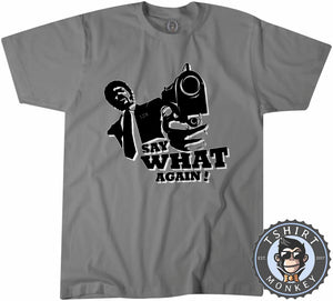 Say What Again Pulp Fiction Movie Inspired Silhouette Vintage Tshirt Mens Unisex 1115
