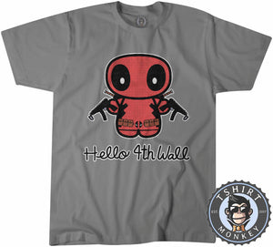 Hello 4th Wall Cute Deadpool Inspired Cartoon Tshirt Mens Unisex 1196