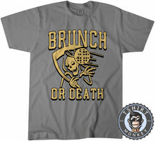 Load image into Gallery viewer, Brunch or Death Funny Grim Reaper Foodie Vintage Tshirt Mens Unisex 1224