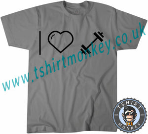 I Love Weights T-Shirt Unisex Mens Kids Ladies - TeeTiger