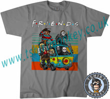 Load image into Gallery viewer, Friends Kruger Myers Scream Chucky Mystery Machine Parody Halloween T-Shirt Unisex Mens Kids Ladies