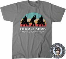 Load image into Gallery viewer, Vintage Hide And Seek World Champion - Bigfoot Sasquatch Funny Tshirt Mens Unisex 1067