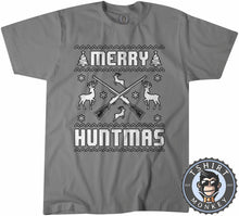 Load image into Gallery viewer, Merry Huntmas Ugly Sweater Christmas Tshirt Mens Unisex 1649