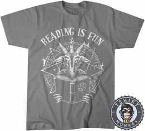 Reading Is Fun Devil Satan Baphomet Funny Vintage Statement Tshirt Mens Unisex 1148