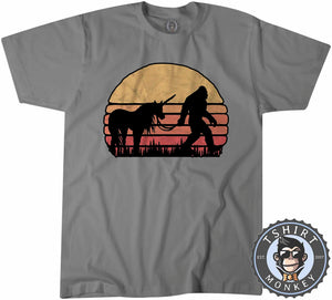 Hidden Together Bigfoot Sasquatch Unicorn Vintage Tshirt Mens Unisex 1072