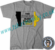 Load image into Gallery viewer, This Iowan Bleeds Black And Gold Hawkeye American Football T-Shirt Unisex Mens Kids Ladies