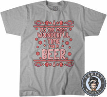 Load image into Gallery viewer, Wonderful Time For A Beer Ugly Sweater Christmas Tshirt Kids Youth Children 1641