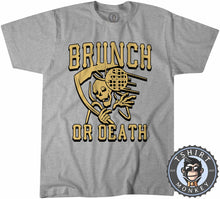 Load image into Gallery viewer, Brunch or Death Funny Grim Reaper Foodie Vintage Tshirt Kids Youth Children 1224