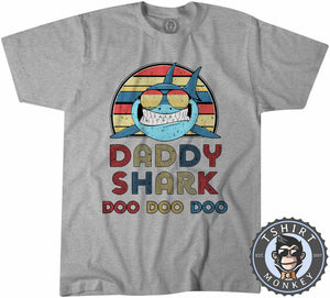Retro Daddy Shark Animal Print Music Inspired Vintage Tshirt Mens Unisex 1071