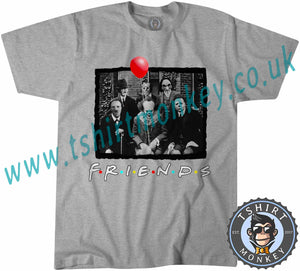 Myers Jigsaw Pennywise Jason Kruger Hitler Friends Horror Parody Characters Halloween T-Shirt Unisex Mens Kids Ladies