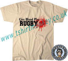 Load image into Gallery viewer, Give Blood Play Rugby T-Shirt Unisex Mens Kids Ladies