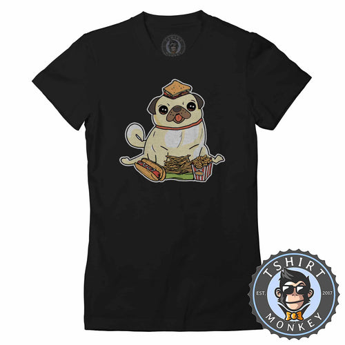 Fast Pug Food Cute Dog Lover Graphic Tshirt Shirt Lady Fit Ladies 1566