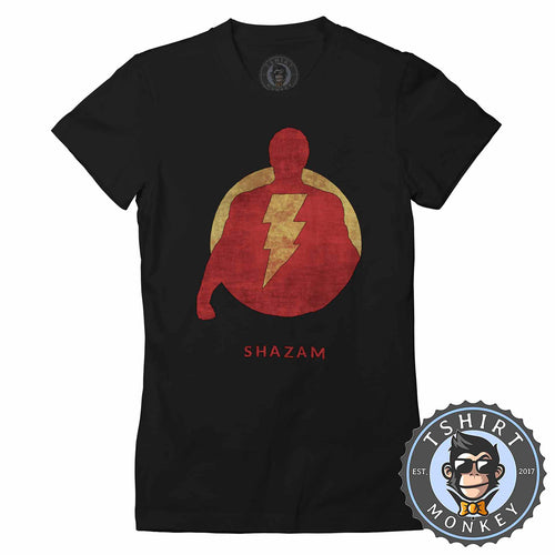Vintage Shazam Silhouette V2 Movie Inspired Tshirt Shirt Lady Fit Ladies 2343