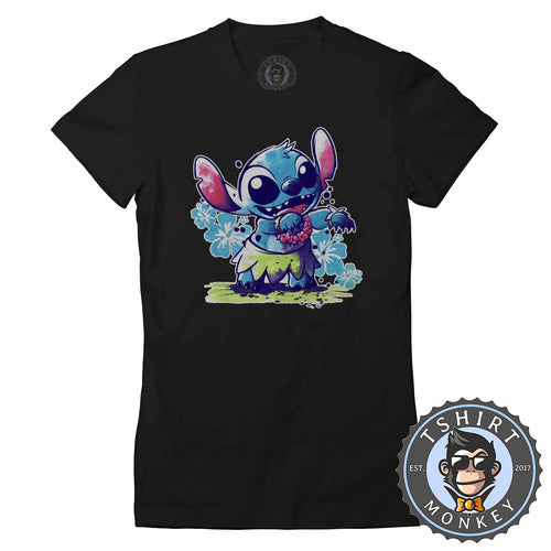 Cute Lilo And Stitch Aloha Dancing Cartoon Tshirt Lady Fit Ladies 1443