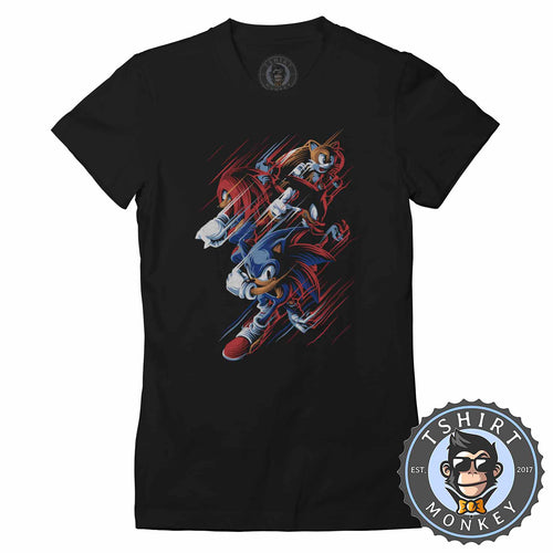 Sonic Knuckles Tails Gamer Tshirt Shirt Lady Fit Ladies 2348