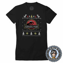 Load image into Gallery viewer, Jurassic Park Inspired Ugly Sweater Christmas Tshirt Lady Fit Ladies 1643