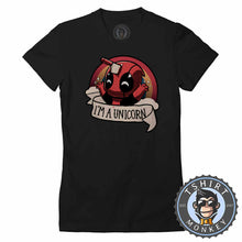 Load image into Gallery viewer, I'm A Unicorn Deadpool Inspired Meme Funny Tshirt Lady Fit Ladies 1057