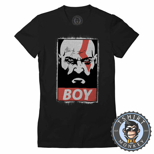 Boy - God of War Inspired Kratos Vintage Distressed Graphic Gaming Tshirt Lady Fit Ladies 1321