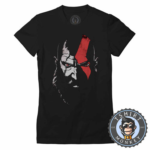 Vintage GOW Kratos Inspired Gamer Tshirt Shirt Lady Fit Ladies 2351