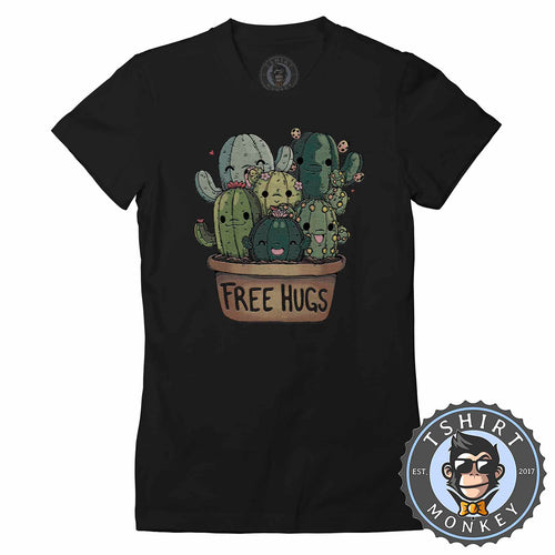 Free Hugs - Funny Cute Cactus Cartoon Tshirt Lady Fit Ladies 1415