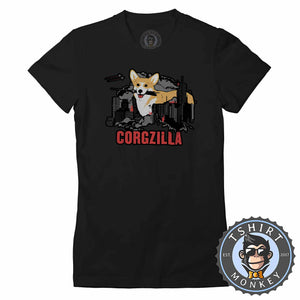 CORGZILLA - Dog Inspired Corgi Funny Animal Print Meme Tshirt Lady Fit Ladies 1094