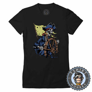 Pirate Inspired Captain Skull Unique Halloween Graphic Tshirt Lady Fit Ladies 1151